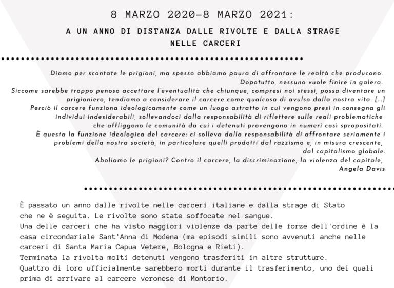 8 marzo 2020-8 marzo 2021: a un anno di distanza dalle rivolte e dalla strage nelle carceri